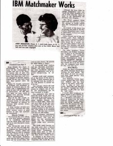 Newspaper clipping, likely from the Iowa State Daily from 1964, describing four engagements that came out of the IBM Computer Dance in 1963. From the Clair George Maple Papers, RS 6/2/12, box 5, folder 10.