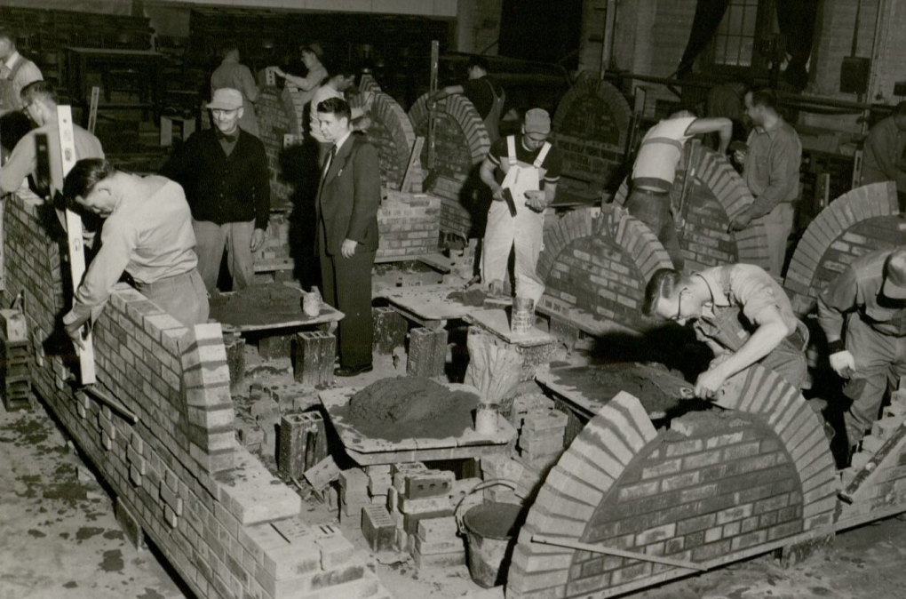 Students at the Masonry School short course, 1961. (University Photographs, RS 16/5, box 1436)