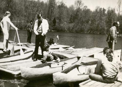 Scene from the Third Annual Midwest Concrete Canoe Race (1973) (MS 275, box 3, folder 3)