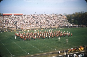 Marching band performing at 1953 Homecoming game