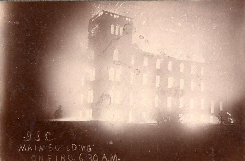 Old Main on fire, 1900. [insert collection #]