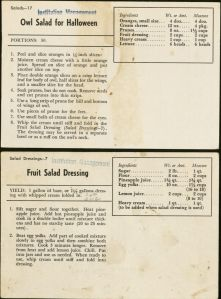 Recipe cards from the Tea Room Records, RS 12/9/4, box 4.