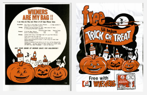 Treat or treat bags and flyer, circa 1971. Promotional material from the Rath Packing Company Records, MS 562, Series 8, box 29, folder 116.