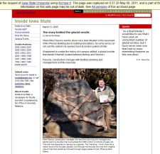 A story on the boulder from Inside Iowa State. The original page is no longer available on the live web, but can be accessed via our web archives. Click on the picture to see the preserved website.