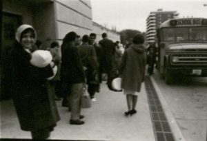 """Foreign students leave on Thanksgiving holiday,"" 1968. (University Photographs box 1618)"