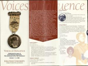 Brochure from a celebration of Catt and the 75th anniversary of the 19th Amendment, 1995. RS 21/7/3, Box 3, Folder 8