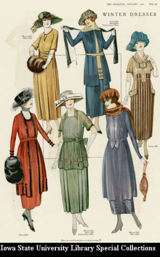 """Winter Dresses."" A selection from the Mary A. Barton Collection of Fashion Illustrations (RS 21/07/009)"
