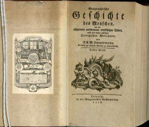 The title page and bookplate of Geographische Geschichte des Menschen.