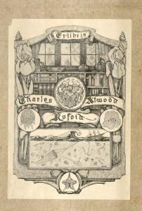 """Bookplate, reads """"Ex-libris Charles Atwood Kofoid"""" in Geographische Geschichte des Menschen."""