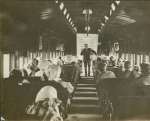 On the Hog train. Snyder speaking soils man, ca. 1910s.