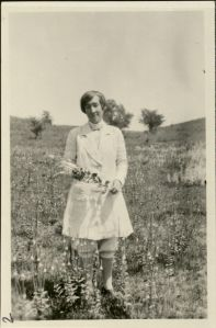 Ada Hayden in College pasture, 1926. RS 13/3/33, Box 4, Folder 4.