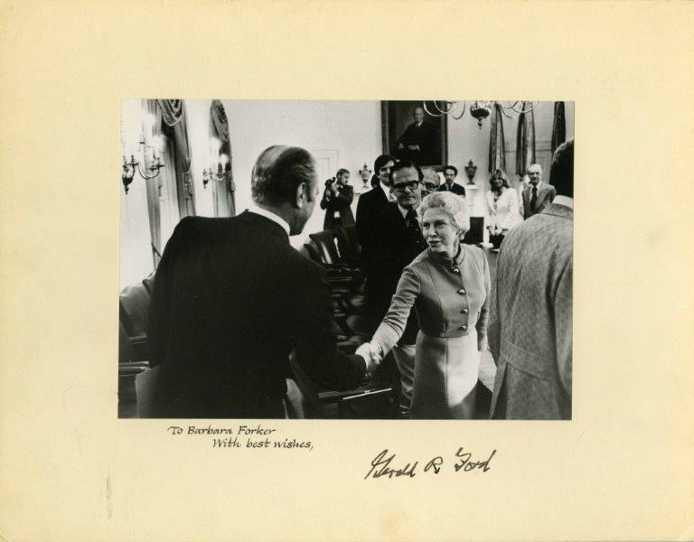 Barbara Forker and President Gerald Ford, signed by President Ford, circa 1977. [photo location]