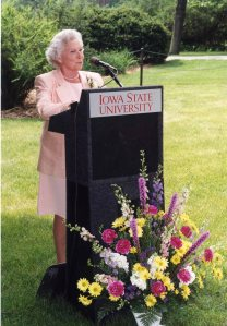 Barbara Forker speaking at the Forker Building dedication, 1997. [photo location]