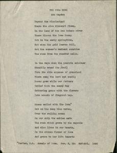 """The Iowa Rose"" by Ada Hayden, undated. RS 13/5/55, box 1/folder 22."