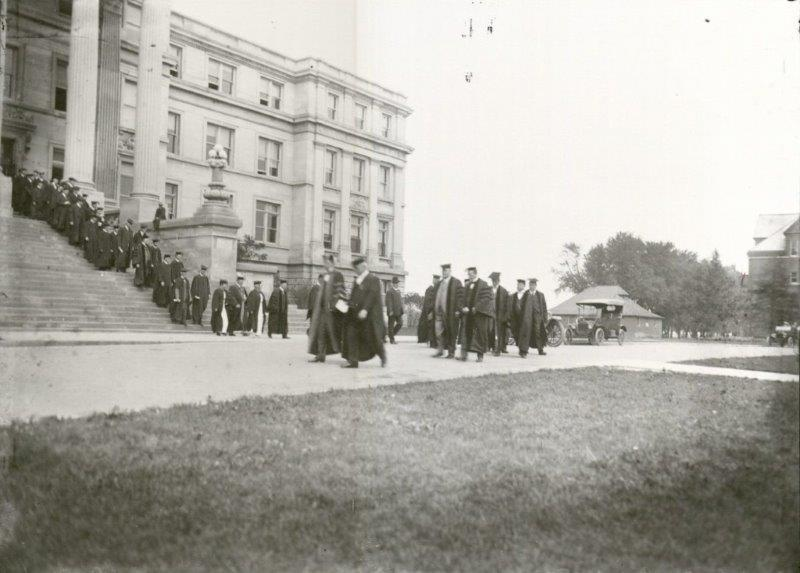 Graduation recessional from Beardshear Hall, 1915. University Photographs, RS 7/2/E, Box 447.