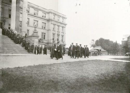 Graduation recessional from Beardshear Hall, 1915. University Photographs, RS 7/2/E, Box 447.