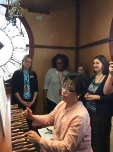 Professor and University Carillonneur Tin-Shi Tam giving a tour inside the Campanile, playing the carillon (photo by Rachel)