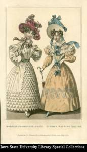 Morning Promenade Dress and Summer Walking Costume, illustrating elaborate ruffled collars and leg-of-mutton sleeves with widening shoulders overall, a highly decorated bodice with lace cutouts, the waist emphasized by ribbons tied in bows or belt, geometric decoration towards the hem (also tightly fitted), wrists, gloves, parasol, and hats decorated with plaid ribbons, feathers, and lace