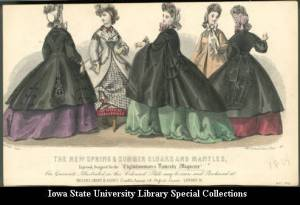 The New Spring and Summer Cloaks and Mantles, demonstrating 5 varieties of loose capes and tent-shaped mantles or paletots that all provided modest warmth and coverage for the large hoop skirts. They have various trims including lace, tassels, braid, and rickrack. Four of the five have sleeves that are fairly loose, and the headwear is a bit more elaborate. The dresses illustrate the changing shape of the skirts shifting more toward the back