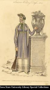 Summer Walking Dress, showing influences from the eastern Mediterranean; underskirt covered by a lace lined overjacket and lace-lined turban with parasol (published by John Bell) from the Mary Barton Fashion Illustration Collection.