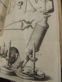 Illustration of Hooke's microscope, from Micrographia.