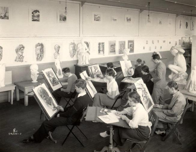 Students practice their skills in a drawing class, 1934. University Photographs, box #.