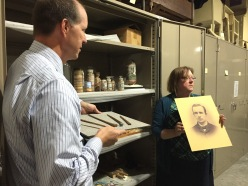 Leo Landis, State Curator, and Jodi Evans, Museum Registrar, show us the work of Andrew Clemens (
