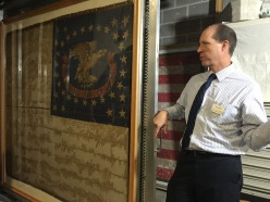 State Curator, Leo Landis, showing us the Civil War Flag for the 1st Iowa Volunteers of African Descent
