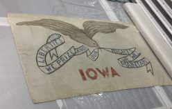 Winning flag design, by Mrs. Dixie Cornell Gebhardt, that became the Iowa State flag (photo by Rachel Seale)