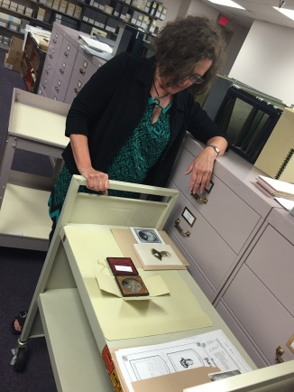 Special Collections Archivist, Becki Plunkett, showing us some items from the photograph collection