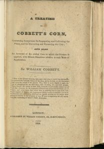 Cobbett's Corn title page, printed on paper made from corn husks, 1828.