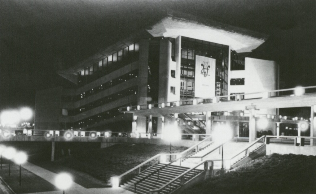 Stephens Auditorium at night in 1979