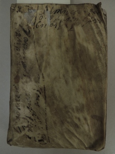 Front cover of Malleus Daemonum in limp vellum with scribblings in ink.