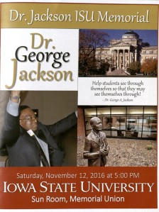 Cover of Memorial Service Program for Dr. George Jackson. 12 November 2016.
