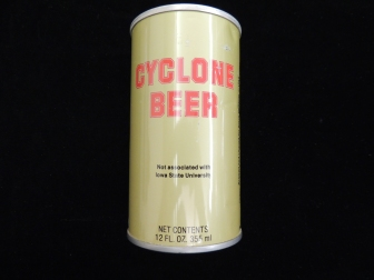"From the catalog record: The can is a gold color, with red and black lettering. There is an image of Cy holding a mug of beer in one hand, and a football in the other. On the can itself reads, in red lettering, ""CYCLONE BEER."" Underneath the slogan, there is black lettering that reads, ""Not associated with Iowa State University."" There is a makers mark that describes the nature of where the beer was brewed and canned. On the top of the can reads: ""Iowa Refund, 5 c."""