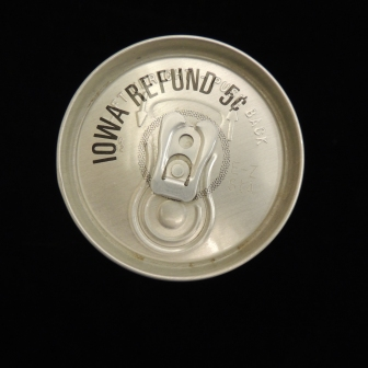 "Top view of can says ""Iowa Refund 5 cents)"