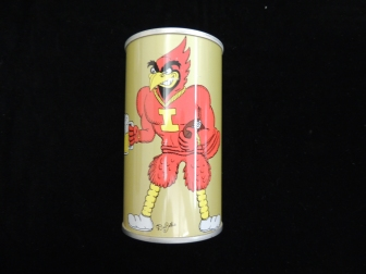Picture of Cy, red cardinal that is the ISU mascot, holding a mug of beer on this side of can