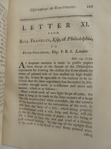 Letter from Franklin to Collinson, October 19, 1752, describing the kite experiment