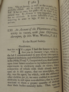 Account of William Watson's experiments on electricity read to the Royal Society on February 20, 1752