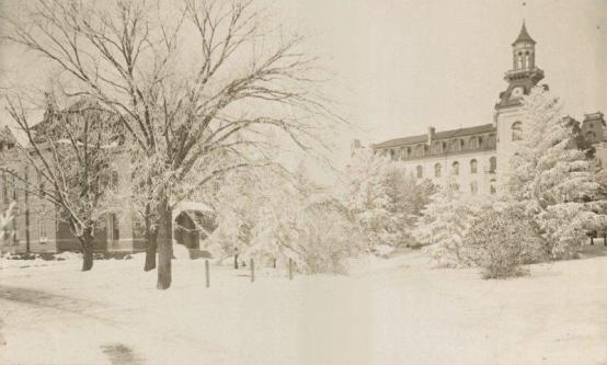 Old Main in the snow, 1899. University Photographs, RS 4/8/J, Box 348