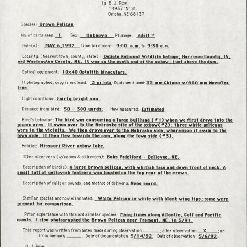 Documentation of Rare Bird Sighting by B. J. Rose