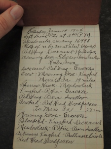"""Handwritten journal page reads, """"Saturday June 14, 1924. Left Sioux City at 3:45 p.m. Speedometer reading 16998. Photo of us by car at start (spoiled). Red wing - Dickcissel - Meadowlark. Mourning Dove - Flicker - Barn Swallow..."""