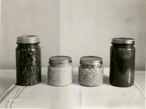 Canned vegetables from a canning demonstration, 1938. University Photographs, RS 16/3/F, box 1369.