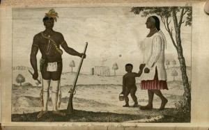 Colored illustration of a male Native American on the left, dressed in a loin-cloth and leggings and carrying a musket and ax, with a woman and child on the right. The child is nake, and the woman is wearing a white dress with a pink skirt underneath.