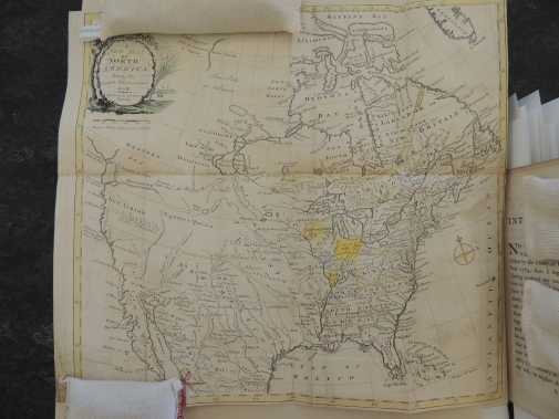 Early map of North America, including Canda, United States, and the Northern part of Mexico. The Eastern portion of the map is most detailed and accurate.