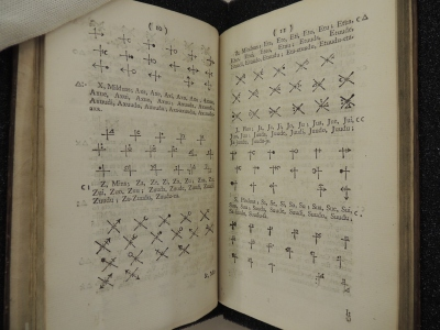 A book open to two pages showing interspered text and rows of symbols.