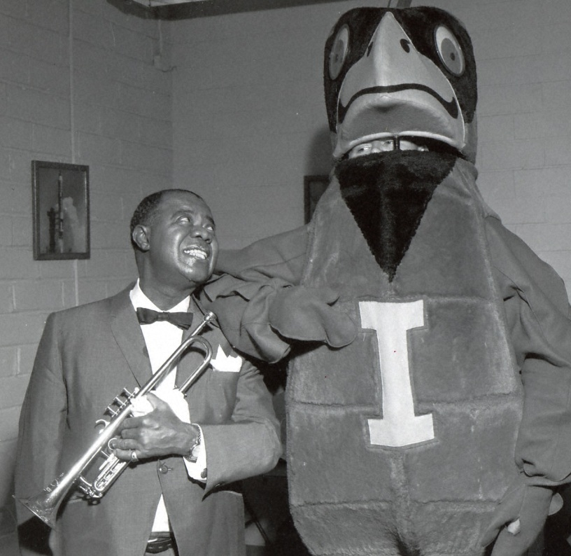 Louis Armstrong with ISU mascot Cy in 1966