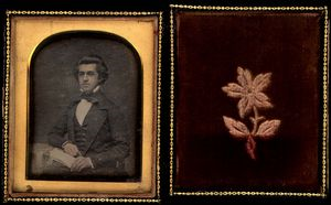 Daguerreotype, left hand side black and white photograph of Benjamin Gue, as a young man, and the right hand side is a flower.