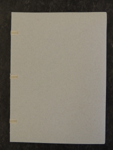 Cover of book in light gray paper. No printing of any kind is on the front cover.