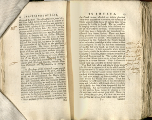 Two pages of printed text. Includes pointing hands drawn in ink in margins and a handwritten note that is not entirely legible.